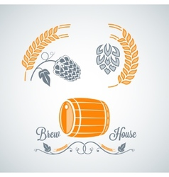 Beer set design labels vector