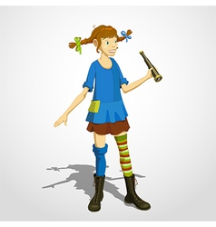 Pippi longstocking with spyglass vector