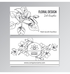 Floral templates for business or visiting cards vector