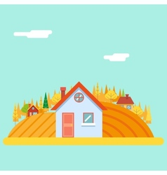 Seasons change autumn village hills field vector