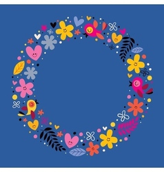 Flowers hearts birds love nature circle frame vector