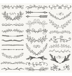 Black hand drawn dividers branches swirls vector