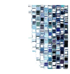 Blue fragmented abstract pattern over white vector