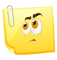 Sad face on yellow page vector