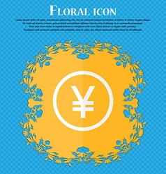 Japanese yuan icon sign floral flat design on a vector