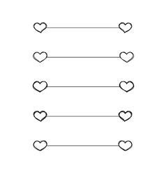 Heart dividers scribble borders vector image