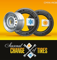 Tire change season one wheel vector