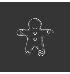 Gingerbread man drawn in chalk icon vector