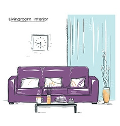 Livingroom interior place with couchhand drawn vector