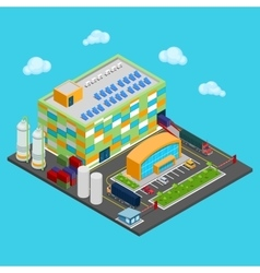 Isometric warehouse with industrial shipping area vector