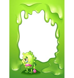 A border design with a green monster in tears vector image vector image