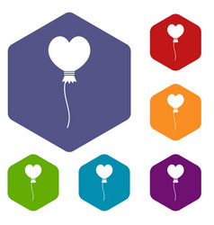 Balloon in the shape of heart icons set hexagon vector