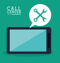 Call center smartphone technical app vector