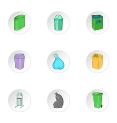 Capacity for garbage icons set cartoon style vector