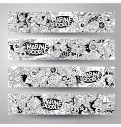 Cartoon line art hand-drawn marine nautical vector image vector image