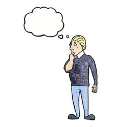 Catoon curious man with thought bubble vector