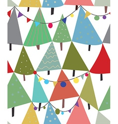 Christmas trees and decorations seamless pattern vector image