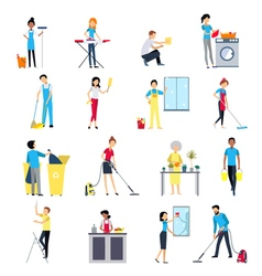 Cleaning people icons set vector