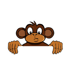 curious monkey holding up an invisible frame vector image