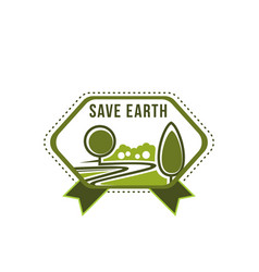 Earth day save planet green tree icon vector