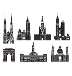 Eastern europe european buildings on white vector