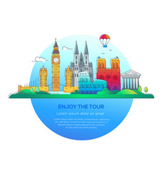 enjoy the tour - line travel vector image vector image