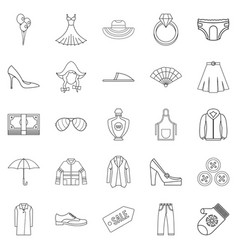 Evening dress icons set outline style vector