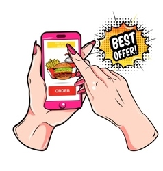 Fast Food Online Composition vector image