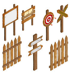 fence wooden signboards arrow sign target dart vector image vector image
