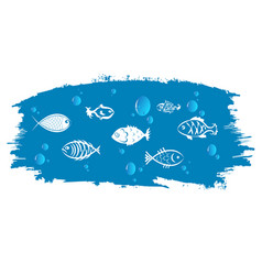 fish against the background of blue waves vector image vector image