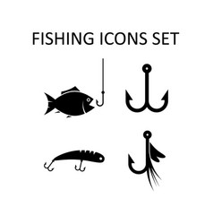 Fishing icons set silhouette signs vector
