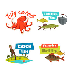 Fishing sport and hobby cartoon icon set vector