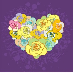 floral colorful heart vector image vector image