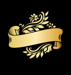 Gold vintage ribbon banner with leaves and flowers vector