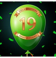 Green balloon with golden inscription nineteen vector