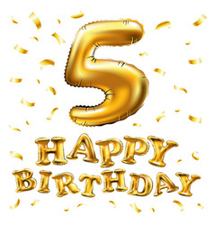 happy birthday golden 5 number five metallic vector image vector image