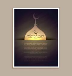 Islamic ramadan and eid festival greeting flyer vector