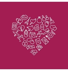 Love line icons in heart vector