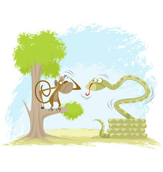 monkey hangs on snake vector image vector image