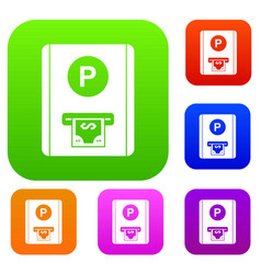 Parking fee set collection vector