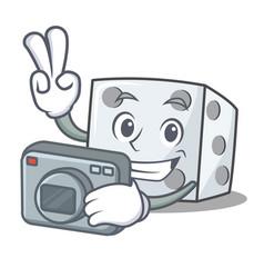 Photographer dice character cartoon style vector