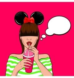 Pop art cute woman with long bang vector image vector image