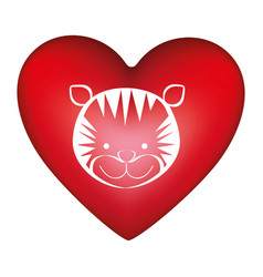 Red heart shape with silhouette face cute tiger vector