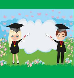 School-college graduation cartoon vector