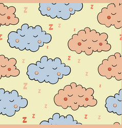 Seamless pattern with cartoon sleeping gray and vector