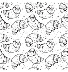 seamless pattern with croissants vector image