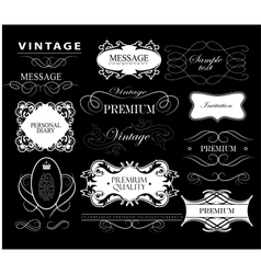 Set of hand-drawing calligraphic floral design vector image
