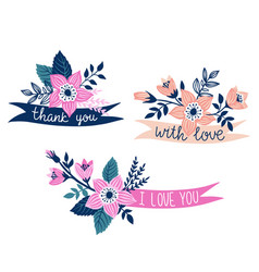 Set of hand drawn ribbons with flowers and stylish vector