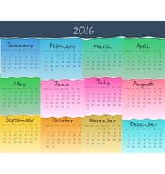 Simple colorful calendar for 2016 Week starts vector image