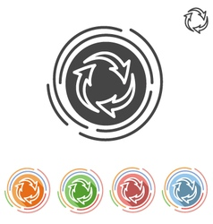 Three arrows in a circle process icon vector